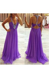 A-line Halter Chiffon Dress with Keyhole Back