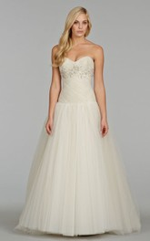 Exquisite Crisscross Pleated Bodice Tulle Ball Gown With Crystal Embroidery