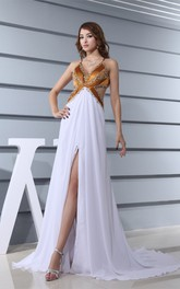 Two-Tone Spaghetti-Strap Plunged Front Slit and Dress With Keyhole