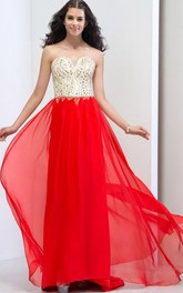 Sweetheart Beading Sequins Sweep Train Prom Dresss