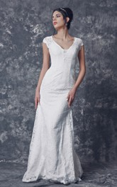 Cap Sleeve V-neck Sheath Lace Gown With Illusion Back