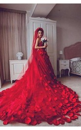 Newest Red Tulle Princess Wedding Dress 2018 Flowers Court Train
