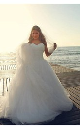 Timeless Tulle Beadings White 2018 Wedding Dress Plus Size Lace-up Sweetheart