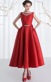 A-Line Bateau Beading Bowknot Ankle-Length Prom Dress