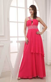 Strapless Chiffon Floor-Length Dress With Beading and Ruching