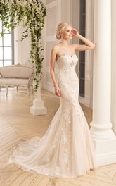 Mermaid Long Sweetheart Sleeveless Backless Lace Tulle Dress With Appliques And Broach