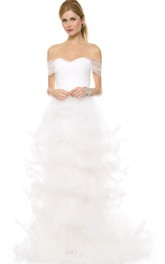 Long Off-shoulder A-line Ruffled Organza Dress