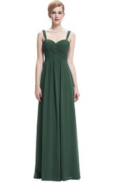 A-line Floor-length Chiffon Dress with Ruches