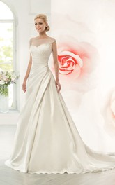 A-Line Maxi Scoop Cap-Sleeve Illusion Satin Dress With Side Draping And Beading