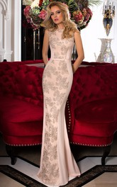Sheath Floor-Length Bateau Appliqued Prom Dress With Low-V Back
