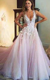 Gorgeous Sleeveless V-Neck 2018 Prom Dress Tulle Appliques