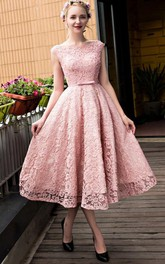 A-Line Bateau Lace Pearls Tea-Length Prom Dress