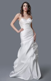 Exquisite Sweetheart Backless Satin Ruched Mermaid Dress