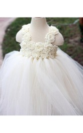 Empire Floral Bodice Tulle Ball Gown With Ruffles