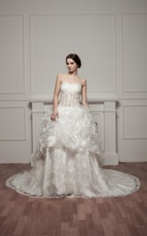 Sweetheart Pick-Up Lace Illusion Waist and Gown With Beading