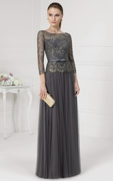 Bateau Neck Appliqued Illusion Sleeve Tulle Prom Dress