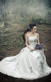 Newest Tulle Strapless Princess Wedding Dress 2018 Print Flower Court Train