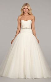 Alluring Strapless Ruched Bodice Tulle Ball Gown With Beaded Belt
