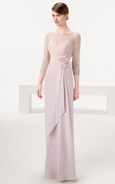 Sheath Bowed Jewel Neck 3-4 Sleeve Chiffon Prom Dress
