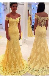 Modern Yellow Lace Appliques Evening Dress 2018 Mermaid Off-the-shoulder