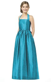 Sleeveless Lovely Long Satin Halter A-Line Dress