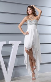 Sweetheart High-Low Dress With Beaded Top and Draping