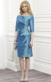Knee-Length Scoop Neck Ruched Half Sleeve Satin Mother Of The Bride Dress