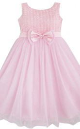 Sleeveless A-line Pleated Dress With Bows
