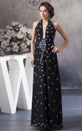 Plunged Ruched Ankle-Length Halter and Dress With Appliques