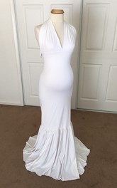 Jersey Mermaid Sleeveless V-neck Maternity Dress