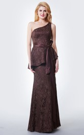 Stupefying One Shoulder Mermaid Lace Gown With Satin Sash