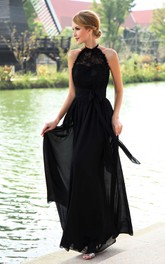 Chiffon High-Neck Strapless Floor-Length Dress With Halter