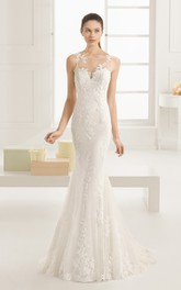 Mermaid Exquisite Scoop-Neck Dress With Illusion Back