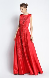A-Line Floor-length Jewel Satin Sleeveless Prom Dress with Beading