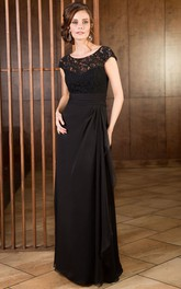 Cap-Sleeved Long Mother Of The Bride Dress With Ruffles And Lace Bodice