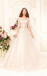 Ball Gown Floor-Length Off-The-Shoulder Half-Sleeve Illusion Lace Dress With Appliques And Waist Jewellery
