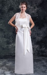 Beautiful Sleeveless Satin Sheath Sweetheart Wedding Dresses With Jackets