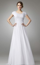 A-line Chiffon Long Wedding Dress With Empire Waist