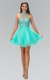 A-Line Short High Neck Sleeveless Tulle Straps Dress With Beading And Ruffles