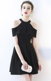 A-line Sexy Little Black Dress With Cap Sleeves And Ruching