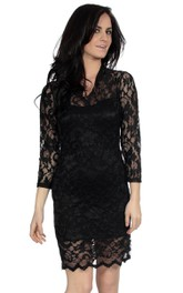 3-4 Sleeved Short Lace Sheath Dress With Illusion Style