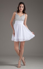 Glam Mini Strapped Beaded Chiffon Satin Special Occasion Dresses