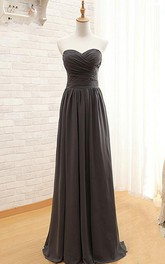 Sweetheart A-line Chiffon Dress with Ruched Bodice