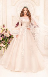 A-Line Floor-Length Scoop Long-Sleeve Low-V-Back Lace Dress With Appliques And Waist Jewellery
