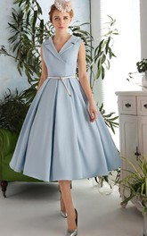 A-Line V-Neck Sashes Tea-Length Prom Dress