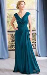 Cap-Sleeved V-Neck Long Gown With Pleats And V-Back