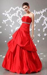 Exquisite Strapless A-Line Ball Gown With Beading