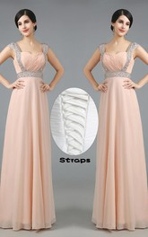 Glamorous Sweetheart Crystals Chiffon Prom Dress Long Lace Up
