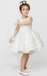 Flower Girl Scoop Layered Organza Mini Dress With Appliqued Top