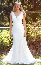 Trumpet Floor-Length Sleeveless V-Neck Lace Wedding Dress With V Back